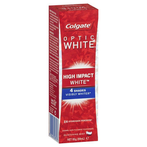 Colgate Optic White High Impact White Glistening Mint Teeth Whitening Toothpaste with hydrogen peroxide 85g
