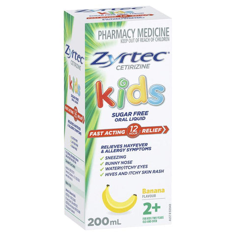 Zyrtec Hayfever Rapid Acting Kids Banana Flavour Oral Liquid 200mL