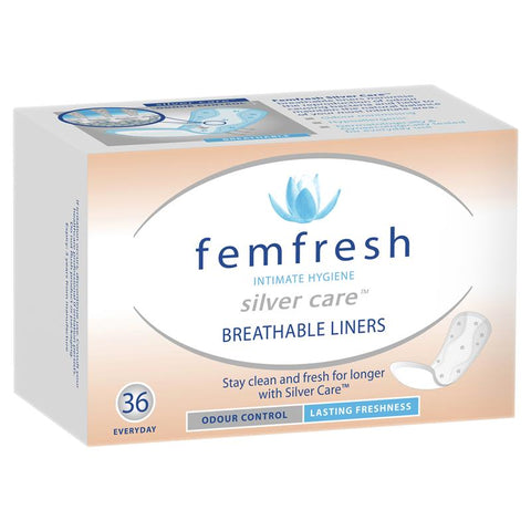 Femfresh Silvercare Panty Liners Breathable 36 Pack