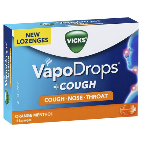 Vicks VapoDrops + Cough Orange Menthol 16 Lozenges
