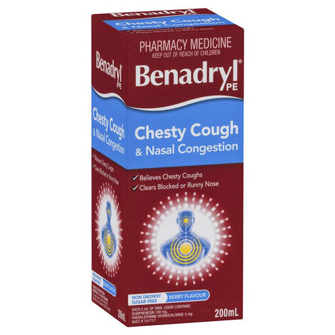 Benadryl PE Chesty Cough & Nasal Congestion Non Drowsy Berry Flavour 200mL