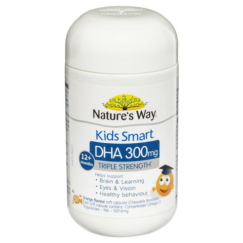 Nature's Way Kids Smart DHA 300mg Triple Strength 50 Soft Capsules