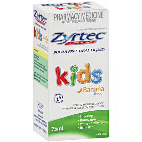 Zyrtec Hayfever Rapid Acting Kids Banana Flavour Oral Liquid 75mL