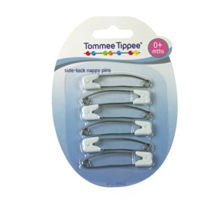 Tommee Tippee Safety Pins with Side Lock 0+ Months - 6 Pack