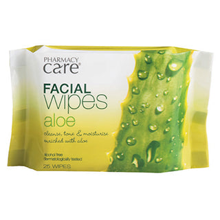 Pharmacy Care Facial Wipes Aloe Vera 25 Pack