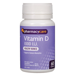 Pharmacy Care Vitamin D 1000IU 60 Capsules (Generic for OSTELIN)