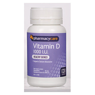 Pharmacy Care Vitamin D 1000IU 120 Capsules (Generic for OSTELIN)