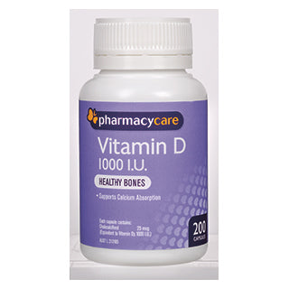 Pharmacy Care Vitamin D 1000IU 200 Capsules (Generic for OSTELIN)