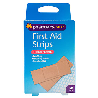 Pharmacy Care First Aid Strip Fabric Tough 50 Pack