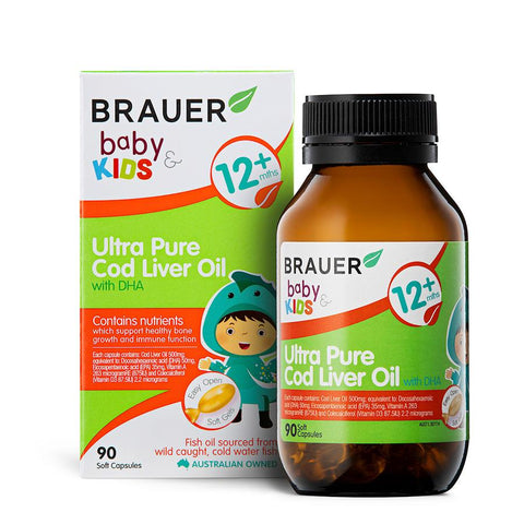 Brauer Baby & Kids Ultra Pure Cod Liver Oil with DHA 90Caps