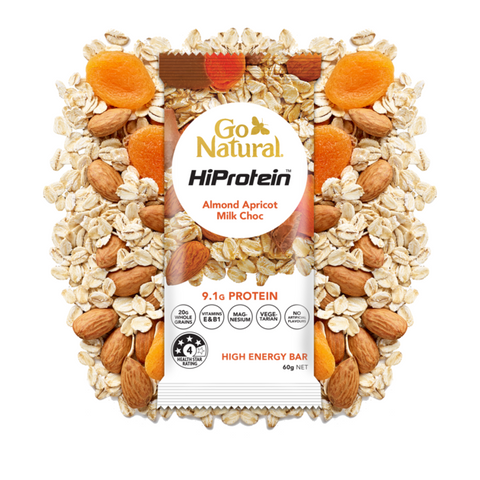 Go Natural HiProtein Energy Bar Almond Apricot Milk Choc 60g