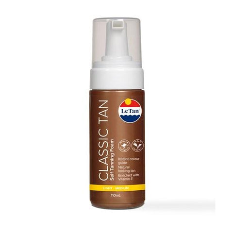 LE TAN Clear Tan Self Tanning Foam Light-Medium 110 mL