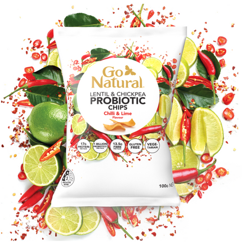 Go Natural Lentil & Chickpea Probiotic Chips Chilli & Lime Flavour 100g