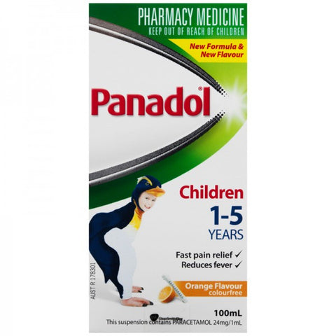 Panadol Children 1-5 Years Suspension, Fever & Pain Relief, Orange Flavour 100 mL