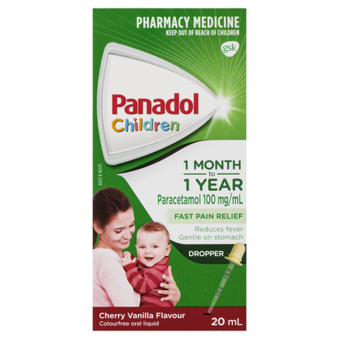 Panadol Children 1 Month – 1 Year Baby Drops with Dropper, Fever & Pain Relief, 20 mL