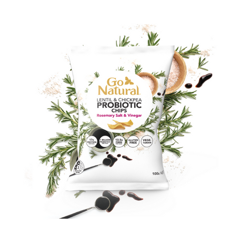 Go Natural Lentil & Chickpea Probiotic Chips Rosemary Salt & Vinegar Flavour 100g