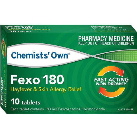 Chemists' Own Fexo 180mg 10 Tabs (Generic for TELFAST)
