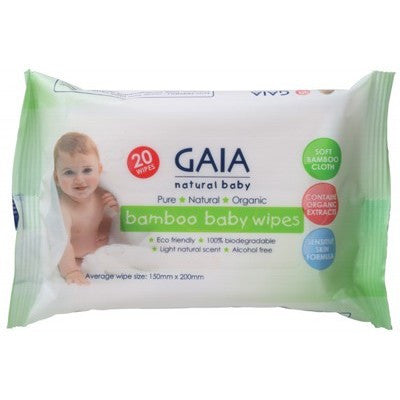 Gaia Bamboo Baby Wipes 20 pack