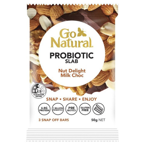 Go Natural Probiotic Slab Nut Delight Milk Choc Bar 50g