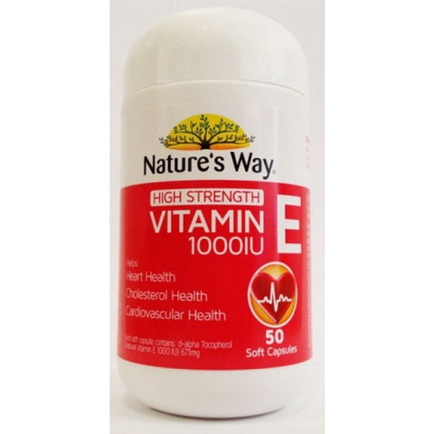 Nature's Way High Strength Vitamin E 1000IU 50 Capsules