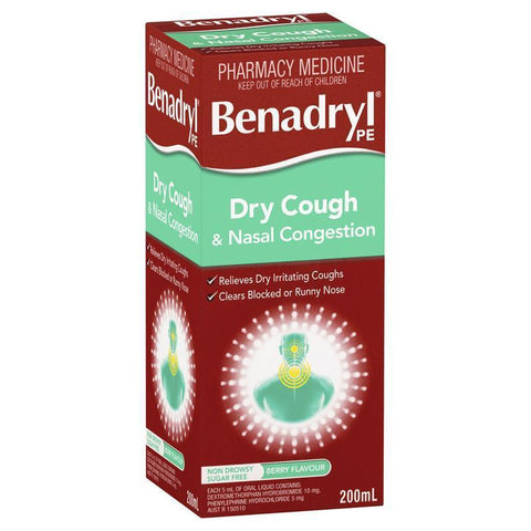Benadryl PE Dry Cough & Nasal Congestion 200ml