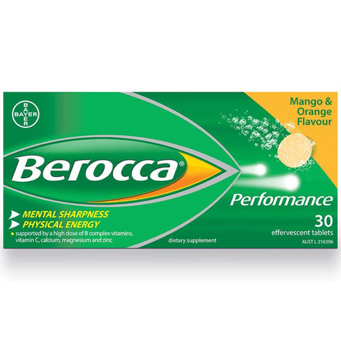 Berocca Energy Vitamin Mango & Orange Effervescent Tablet 30 Pack