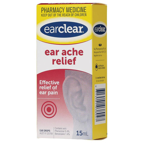 Ear Clear Ear Drops For Ear Ache Relief 15ml