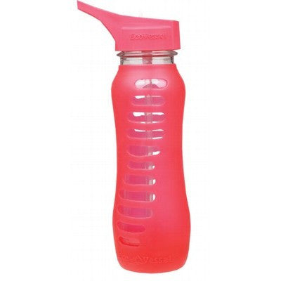 ECO VESSEL Glass Bottle Pink Raspberry Flip Straw Lid 650ml