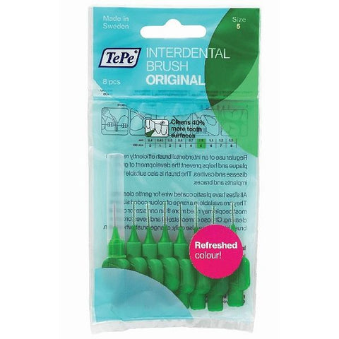 TePe Interdental Brush - Medium Green (0.8mm) 8 Pack