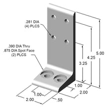 "2"" Floor Mount Foot dimensions"