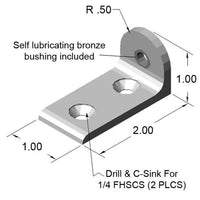 "1"" Living L-Pivot Arm dimensions"