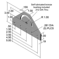 180° Pivot Bracket dimensions
