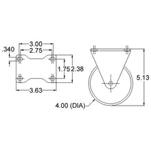 "13CA8103 4"" Rigid Caster without Brake dimensions"