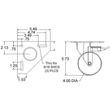"13CA8118 4"" Triangle Top Plate Caster with Brake dimensions"