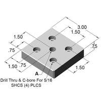 "15BP2585 3"" x 3"" Base Plate dimensions"