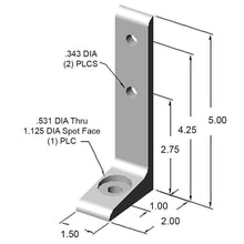 "15FF5814 1.5"" floor mount foot dimensions"