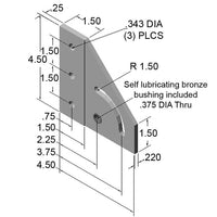 90° Left-Hand Pivot Bracket dimensions