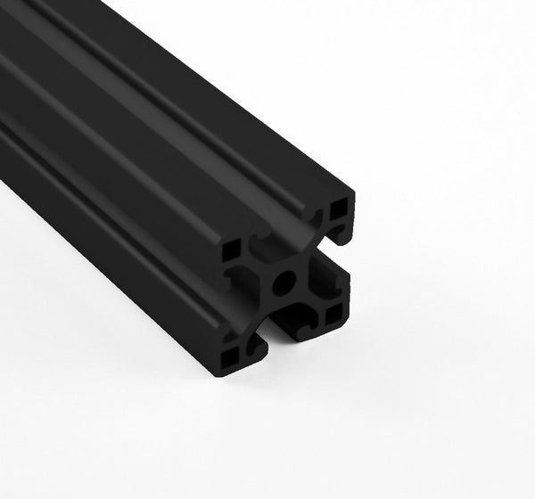 "1.5"" x 1.5"" Lite Smooth Black T-Slotted Aluminum Extrusion"