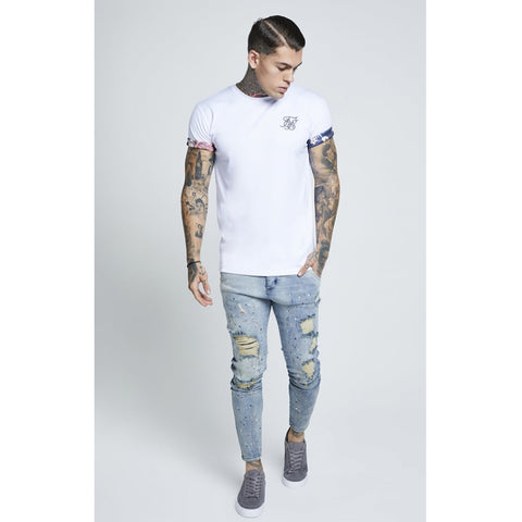 Curved Hem Rolled Sleeve Tee White