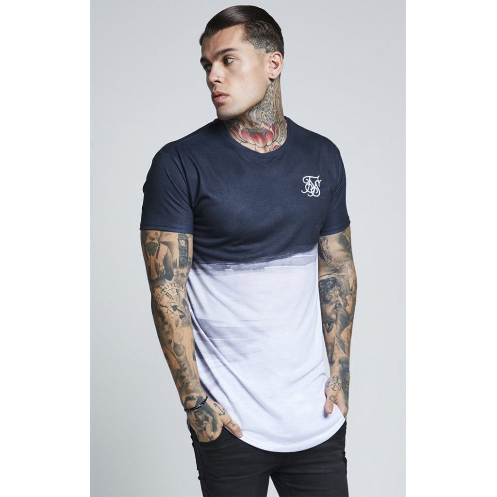 Curved Hem Wash Out Tee Black & White