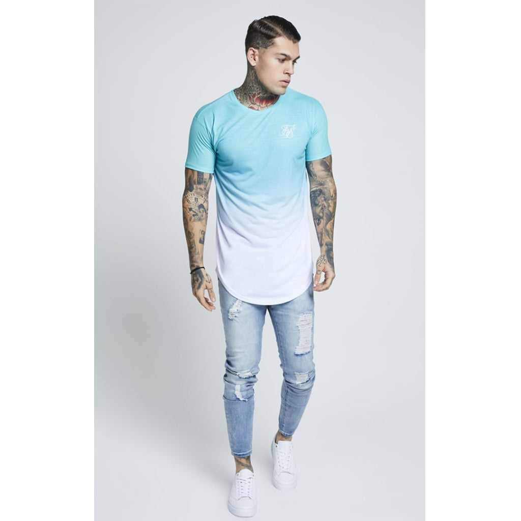 Curved Hem Faded Tee Teal & White