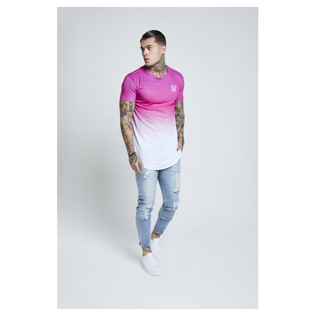 Curved Hem Techno Fade Tee Pink & White