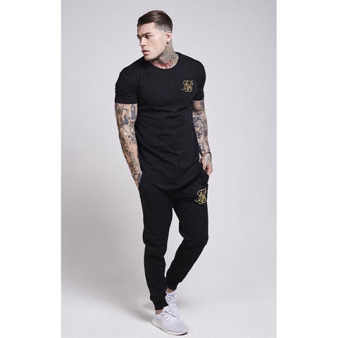 Gold Edit Curved Hem Tee Black & Gold