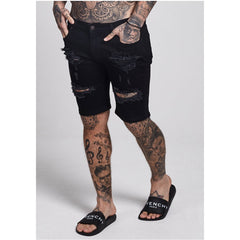 Distressed Denim Shorts  Black