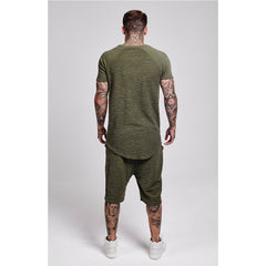 Reverse Flannel Curved Hem Sweat  Khaki