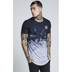 Smoke Marl Curved Hem Tee Black & Grey Marl