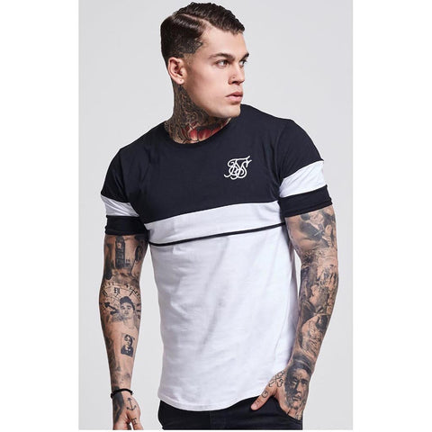 Curved Hem Sport Tee Dark Grey & White