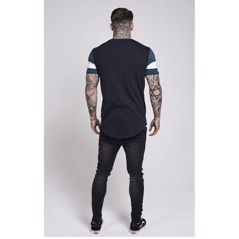 Curved Hem Sports Tee Teal & Black