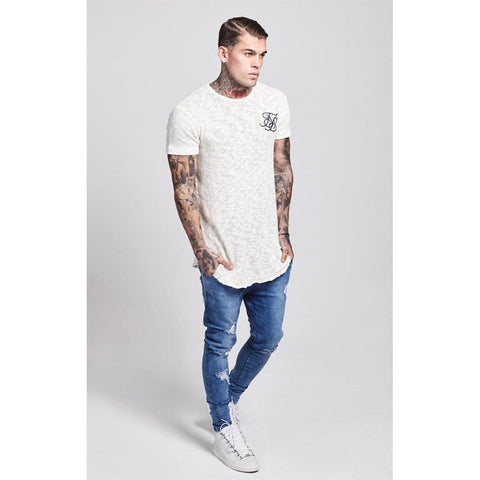 Weathered Curved Hem Tee Cream