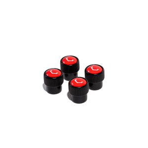 Classic V Valve Stem Cap Set (Black/Red) - Vossen